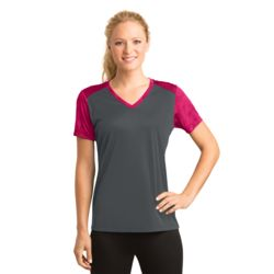 Ladies CamoHex Colorblock V Neck Thumbnail