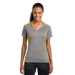 Ladies Heather Colorblock V Neck Thumbnail