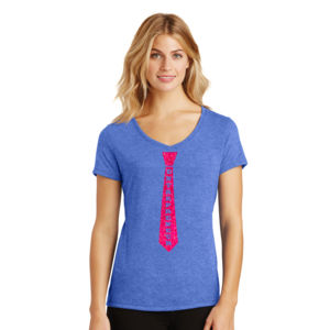 Entrepreneur Tie - Ladies Tri-Blend V-Neck T Thumbnail