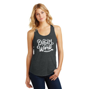 Dream Less Work More - Ladies Tri-Blend Racerback Tank Thumbnail
