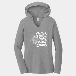 Don't Waste Your Time - Ladies Tri-Blend Long Sleeve Hoodie Thumbnail